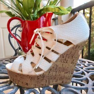 Shoe Dazzle platform lace up heels
